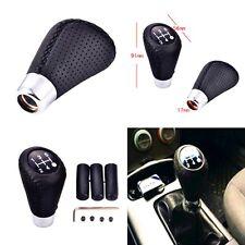 NEW Black 5 Speed Leather Stitche Manual Car Gear Stick Shift Knob Shifter