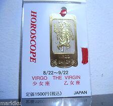 Horoscope Virgo Virgin Maiden Zodiac 24K Gold plated metal Bookmark  JAPAN