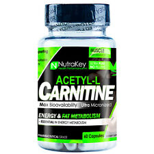 Nutrakey Acetyl L-Carnitine Amino Acid, HPLC Verified Energy & Fat Loss 60 Caps
