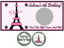 10 Eiffel Tower Birthday Party Baby Shower Scratch Off Game Cards Paris France