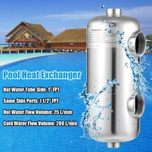 """Pool Heat Exchanger Stainless Steel 135KBTU/h 1""""+1.5""""FPT Spa / Hot Tub / Pool"""