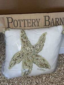 POTTERY BARN LILLY PULITZER SEEING STARS EMBROIDERY STARFISH TASSEL 12X12 PILLOW