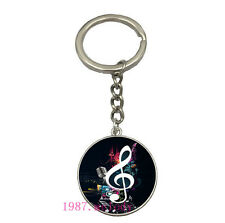 Vintage Glass Cabochon silver Matal Car Key chain ring pendant(music notes)A136