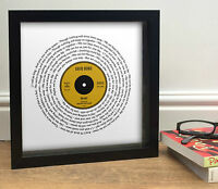 DAVID BOWIE HEROES Vinyl Record Style Song Words Print || Tribute || Framed Disc