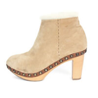 HENRI CUIR Shearling Tan Suede Studded Clog Womens Wood Heel Boots size 36 1/2