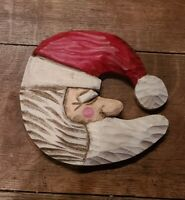 Vintage Christmas Hand Carved Painted Folk Art Santa Moon Wood Figure Signed