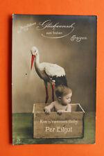 AK Storch Kind strammes Baby per Eilgut 1905-15 Glückwunsch frohes Ereignis ++