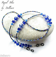 ✫ Royal Blue ✫ Beaded recetadas gafas gafas gafas Cadena Porta Cable