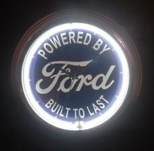 """Powered By Ford Built To Last 15"""" Round White Neon Light Clock Sign Garage Cars"""