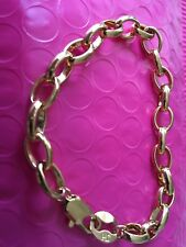 Beautiful 9ct Yellow Gold Plated Round LinK Chain  Bracelet Lobster Fastening