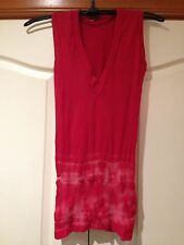 METALICUS body Tight Red Tie Dyed Vest/ Sleeveless Top One Size