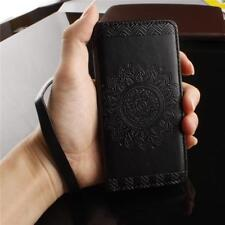 Leather Flip Wallet Card Slot Case Cover For Samsung Galaxy Phone Tempered Glass