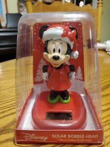 NIB Disney Minnie Mouse with Santa Hat Solar Bobble Head Christmas Holiday Decor
