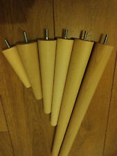 4 x Wooden furniture legs/feet, replacement, chair, sofa, footstool, beech, M8,