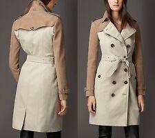 $3,795 Burberry London sz 12 14 46 Stone Suede Panel Gabardine Trench Coat Women
