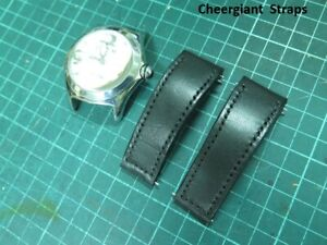 Corum bubble black leather strap watch band MIT Cheergiant straps 崑崙泡泡錶牛皮手工錶帶