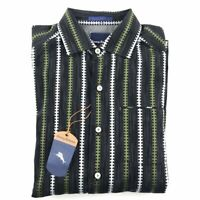 New Tommy Bahama Mens Button Front Shirt Small S Black Green Stripes Collared