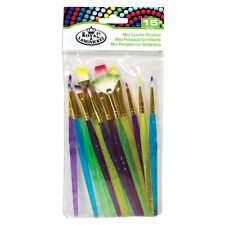 Royal & Langnickel Set of 15 Mini Sparkle Brushes for Art, Craft, Kids Painting