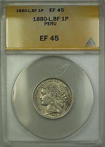 1880-L BF Peru 1 Peseta Silver Coin ANACS EF-45