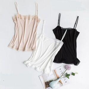 Women's 50% Silk 50% Viscose Lace Camisole Top Vest Shirt M L XL TG111