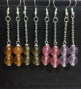 Glass beads long drop dangle earrings with 925 sterling silver earring hoops.