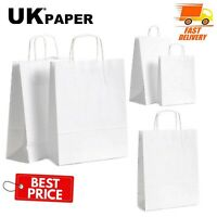 WHITE PAPER BAGS WITH HANDLES SMALL LARGE 100 50 10 FOR GIFT SWEET PARTY CARRIER