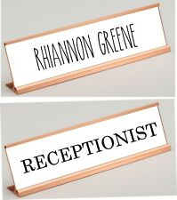 """Personalized Desk Nameplate, Rose Gold Metal Your Choice Plastic Insert 2"""" x 8"""""""