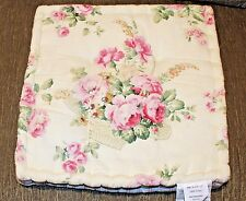 Beautiful Square Chair Cushion Creamy Yellow w/ Striped sides ROSES