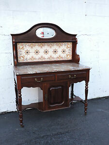 Victorian 1880s Two Part Tiled Marble Top Server Wash Stand Buffet Bar 7371