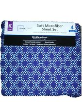 MAINSTAYS SOFT MICROFIBER King SIZE SHEET SET WRINKLE RESISTANT 4 PIECES Navy