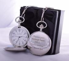 Reloj De Bolsillo Laser Grabado en Caja De Regalo De Seda Para Papá/Padre/Abuelo/Navidad/hijo