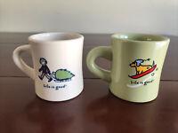 Life is Good Do What You Like To Do Coffee Mug Cup Set Of 2 Winter Theme GUC