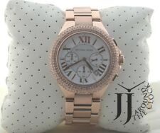 New Michael Kors Ladies Large Camille Rose Gold Chronograph Glitz Watch MK5636