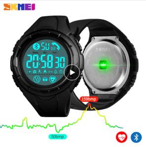 SKMEI Fashion Digital Men Wristwatch Bluetooth Heart Rate Smart Clock Fitness Pe