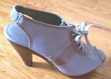 Unique ALDO open toe lace up chunky high heel gray tan shoes sandals 39 9