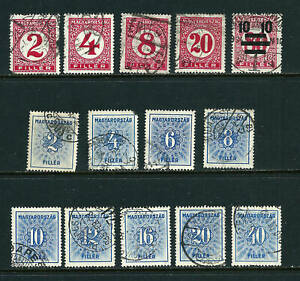 Hungary Postage Due 1926-1934 (14 used stamps)