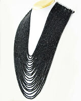 Royal 915.00 Cts Black Spinel 20 Strand Round Faceted Beads Handmade Necklace