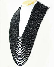 915.00 Cts Black Spinel 20 Strand Round Faceted Beads Handmade Necklace (DG)