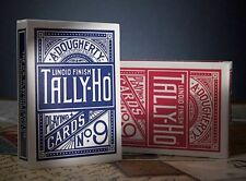 2 Decks Tally Ho No 9 Fan Back Standard Playing Cards Red & Blue Brand New