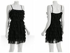New with tags Juicy Couture black chiffon tiered ruffle dress silk lining size 0
