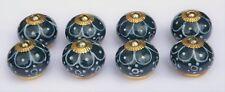 cupboard knobs pulls Dark Aqua round White flower painted petals (brass) x 8