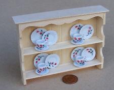 1:12 Natural Finish Shelf Unit & 16 Piece Tea Set Dolls House Miniature TS6