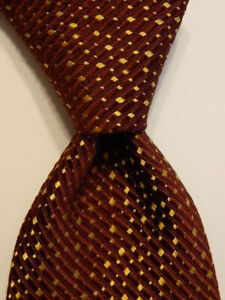 PAUL STUART Mens 100% Silk Necktie USA Designer Geometric Textured Wine/Gold EUC