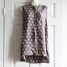 Small (Size 10) Wallis Brown & Cream Spotted Sleeveless Button Down Shirt Hem