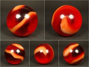 Vintage Marbles Akro Agate Cherry Red and Orange Snake 11/16 Mint