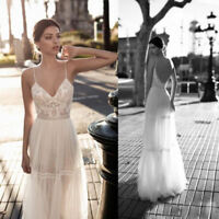 Sexy Wedding Dresses A-Line Lace Bohemian Spaghetti V-Neck Beach Bridal Gowns