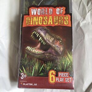 "World of Dinosaurs 6 Piece Plastic Figure Play Set Playtek NWT 6"""