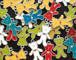 enamel teddy bear charms pendants for jewellery making a mixed pack of 10