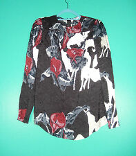 CARVEN HAUT TOILE CRINKLED SEQUIN LONG SLEEVE TOP BLOUSE NWT 38