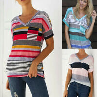AU Women Summer T Shirt Tee Stripe Printed Blouse Casual Short Sleeve Top Blouse